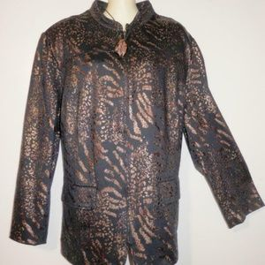 Alfred Dunner Womens Jacket 20W 2X Gold Black E297